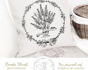 French lavender, vintage wreath, digital images to print on fabric or paper, cards, Iron On Transfer for totes t-shirts pillows home decor
