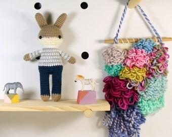 zac .. amigurumi animal doll, boy toys, crochet animal, crochet toy rabbit, plush doll, bunny, stuffed plush toy, kawaii plushie rabbit