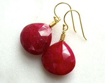 Phenomenal, Lustrous Very Large 30mm RUBY, Focal Earrings in Gold Vermeil...