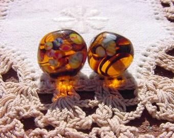 Whiskey Glow Swirls Vintage Japanese Glass Millefiori Beads