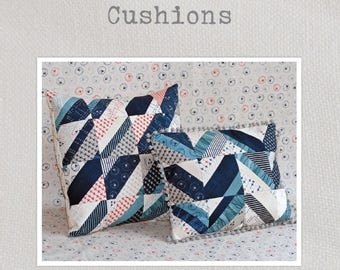 "Cushions Sewing Pattern - A charming pattern to make two coordinated cushion fronts from a single 5"" charm pack"
