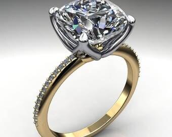 charlize ring – 3.3 carat cushion cut NEO moissanite engagement ring, cushion engagement ring