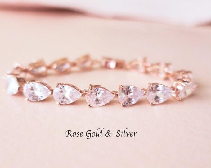 Rose Gold Crystal Bracelet AAA Grade Cubic Zirconia MISTY