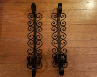 Vintage 1960's Pair Wall Candle Holders, Scrolly Black Iron, Gothic Mid Century Decor