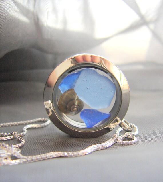 Porthole sea glass locket in blues