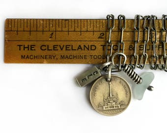 Vintage Cleveland Public Square May Co Soldiers Sailors Monument Token CLE 216 Lake Erie Beach Glass Sterling Silver Long Charm Necklace
