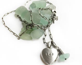 143 I LOVE YOU Sterling Silver Heart Photo Locket Necklace Vintage Charm Aqua Beach Glass Seaglass Mom Grandmother Girlfriend Gift