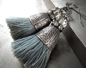 Slate Blue Gray Tassel Earrings, Ornate Vintage Style Antiqued Silver and Rhinestone Crystal Accents, Boho Earrings Jewelry, Tassel Jewelry