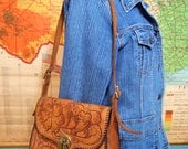 Leather tooled  Bag Purse Mexico Handbag Messenger Flap Shoulder Brass hardware Flowers and Leaves