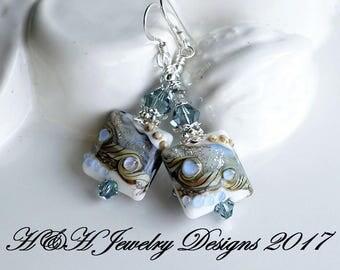 Blue Gray Silver Lampwork Earrings, Silver Statement Earrings, Blue Gray Swarovski Crystal Earrings, Gray Lampwork Glass Bead Earrings, Gray
