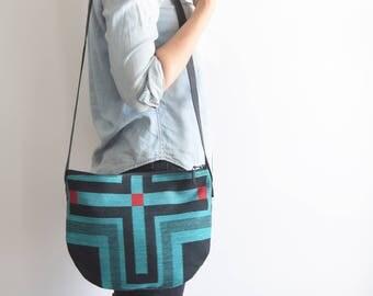 LARO bag // southwestern print black leather strap