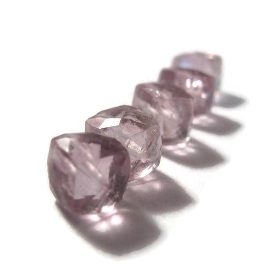 Five Pink Amethyst Beads, Beautiful Faceted Rondelles, 7x7mm - 8x8mm, 5 Cube Beads, Jewelry Supplies (S-Am5b)