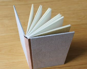 Tall Gray and Pink Linen Notebook with Soft Covers and Color Blocking