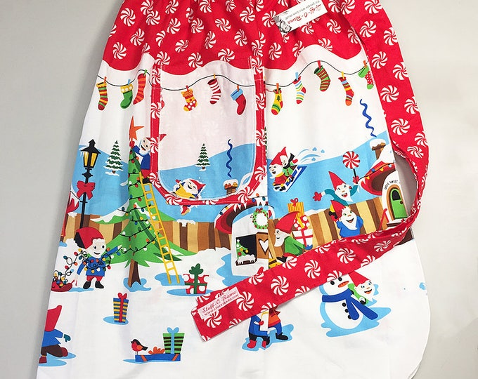 Skirt Apron - Vintage Pin Up Style - Christmas Elves