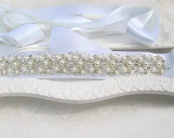 Pearl bridal belt Crystal Wedding sash silver belt pearl wedding dress belt jeweled ribbon sash belt wedding sash. Pearl Ivy Collection