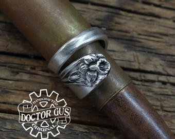 Daffodil Spoon Ring - Adjustable - Handmade by Doctor Gus - Beautiful Antique Inspired Flowery Boho Design Replica in Lead Free Pewter
