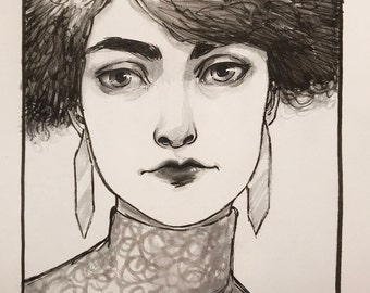 "Original Ink Drawing ""Aurous"" by Amy Abshier"