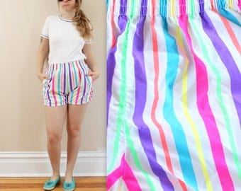 90s Neon Striped Beach Shorts in Small or Medium . 1990s Dolfin Shorts with Elastic Waist . Summer Vacation Bright Colors Rainbow