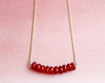 "faceted gemstone necklace - red and gold - ""valentine"" necklace handmade by elephantine"