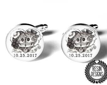 Personalized Skull Cufflinks, Wedding Cufflinks, Fiance Gift, Day of the Dead CUfflinks, Sugar Skull, Mens Accessories, Handmade, Groom Gift