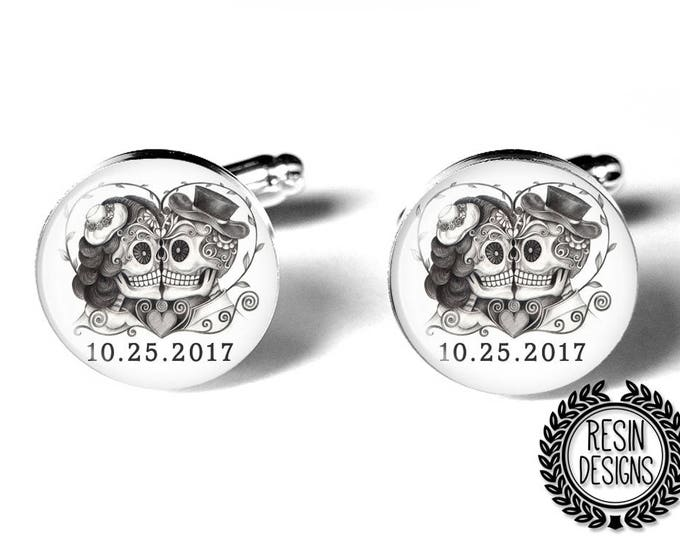 Day of the Dead Personalized Skull Wedding Cufflinks