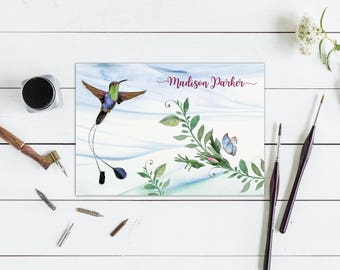 Hummingbird Folded Note Cards with Envelopes, Set of ten Cards, Thank You Cards, Personalized Note Cards, Custom Font Choices