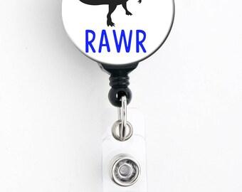 Retractable Badge Reel - TRex RAWR - Badge Holder with Swivel Clip