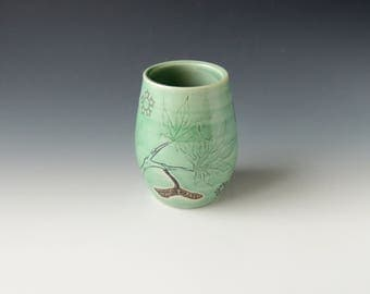 Clay Maple Wine Tumbler - green ceramic porcelain cocktail cup with seedpods, leaves, and wifi decals - wheel thrown handmade pottery