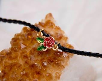 Leather choker, black leather choker, rose choker, rose charm jewelry, red rose jewelry, rose necklace, rose choker, gift for teen girl