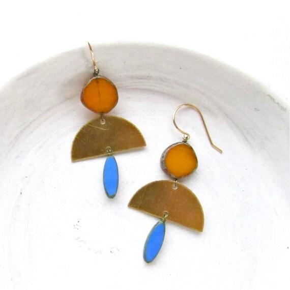 Half Moon Earrings > Brass