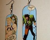 Terror Comic Collage ZombieHead Earring