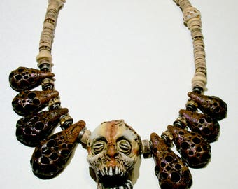 Voodoo, Tribal, Skull, Vanuatu skull, Horror Sculpture, Shadow Man, Witch, Zombie Head Necklace