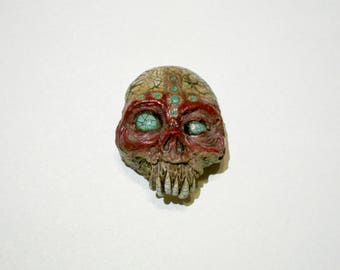 Tribal Skull, Voodoo, Zombie, Vanuatu skull, Horror Sculpture, Witch, Zombie Head Pendant