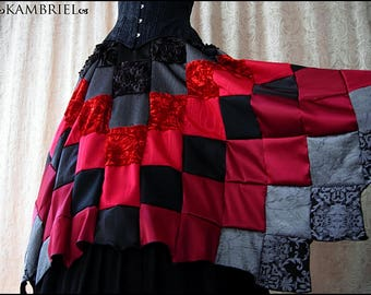 Running Away with the Circus - One of a Kind Crimson Patchwork Skirt by Kambriel - Brand New & Ready to Ship!