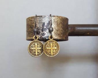 Oxidized Silver Black Bronze Coin Dangle Earrings, St Benedict Earrings, Antique Brass Cross Medal Earrings, Saint Benedict, Religious Cross