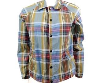 Vintage 60s Plaid Jacket // Retro Buttonup Preppy Jacket // Size S // 142