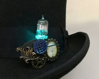 USA-made aqua LED jewelry - steampunk vacuum tube brooch - hot air balloon light up jewelry brooch - Burning desert Man jewelry
