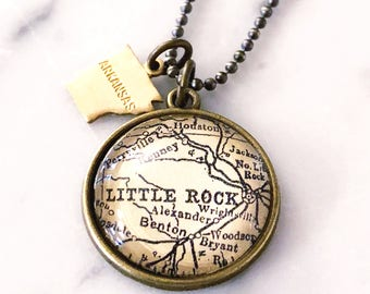 Little Rock Map Necklace - Little Rock Charm Necklace - Little Rock Necklace - Arkansas Necklace - Arkansas Jewelry - Little Rock Jewelry
