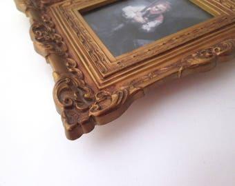 Vintage Resin Picture Frame, Gold Photo Frame, Illinois Moulding, Boho decor, Baroque decor, Syroco, wall mount, French decor