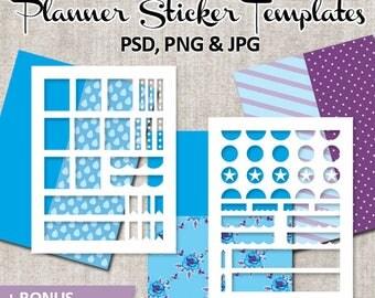 Planner sticker DIY Kit template, commercial use, blue purple / Erin Condren Printable Planner Sticker templates / plan sticker download