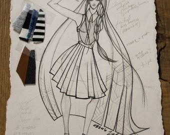 One of a Kind Runway Garment Sketch, Created by Project Runway's Valerie Mayen, Wall Art, Perfect for any room, Ready to Hang