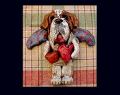 Folk Art Vintage Saint Bernard Angel Dog Primitive Nostalgic style Handmade Ornament