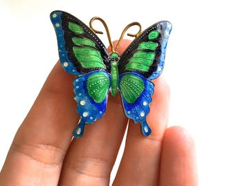 Vintage Bright Blue and Green Enamel Butterfly Brooch Pin