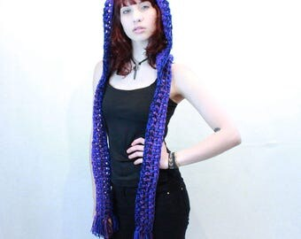 NEW Comet Hood scarf unisex winter vegan elfin festival purple eggplant