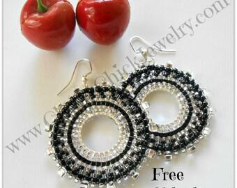 Silver Black Beaded Hoops - Seed Beaded Hoops - Hoop Earrings - Beaded hoop earrings - Hoop Earrings - Seed Bead Earrings - Free Shipping