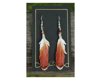 Red Tailed Hawk Feathers -  2 Inch Leather Feather Earrings - Hand Painted Leather Bird Feather Earrings
