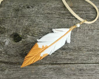 Pearly Gold Leather Feather Necklace - 3-inch White and Gold Leather Pendant