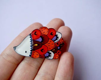 Hedgehog brooch, woodland illustrated jewelry, red purple animal brooch