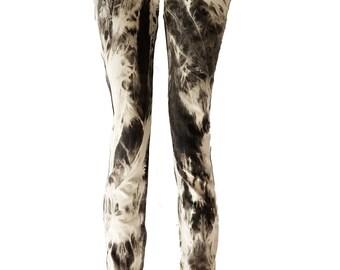 Acid Angel acid wash Black and white upcycled denim skinny jeans | Bleached Jeans