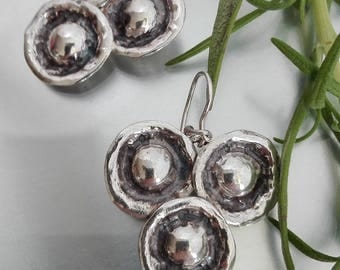 Silver Triangle Earrings, Drops Triangle,  Hammered Dangle Earrings, Triangle Dangle Earrings, Triangle Sterling Drops, Silver Trio Earrings